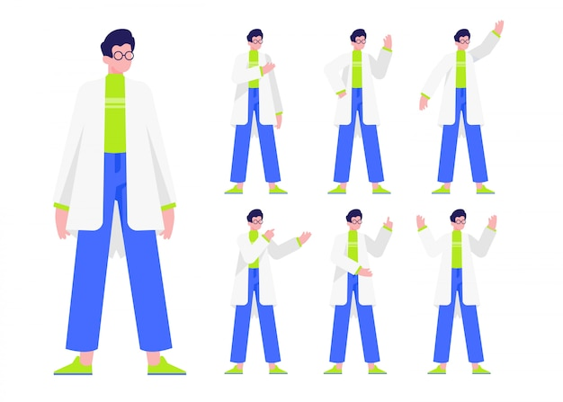 Gens, personnage féminin, plat, conception, illustration