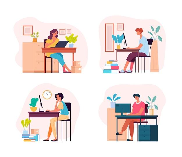Gens personnages homme femme pigistes étudiants travaillant à la maison illustration