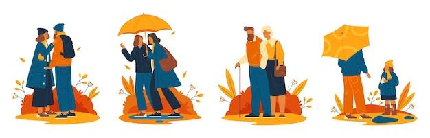 Les gens ou les personnages marchent à l'extérieur ensemble d'icônes