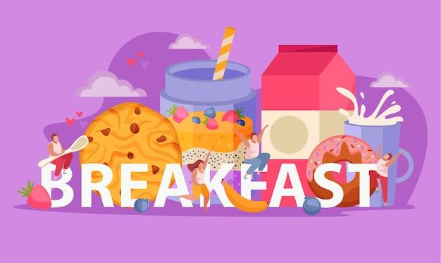 Les gens avec petit-déjeuner plat concept grand mot abstrait et humain est assis dessus avec une grande cuillère
