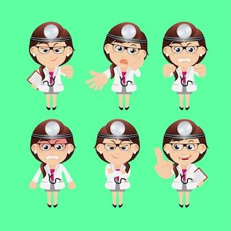 Les gens placent un médecin de profession dans différentes poses