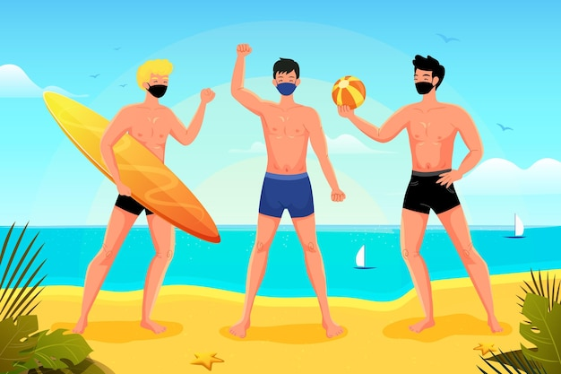 Les gens sur la plage portant des masques faciaux