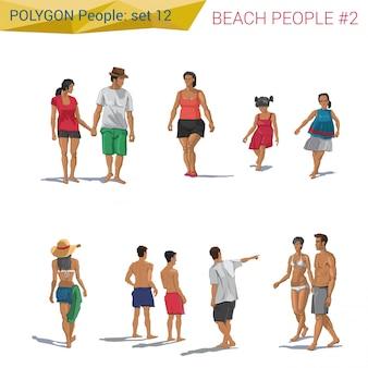 Gens de plage de style polygonal marchant définir des illustrations.