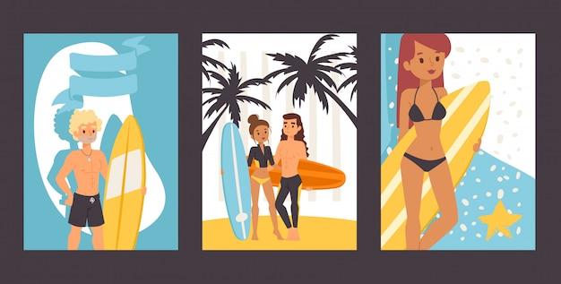 Gens avec des planches de surf, illustration. ensemble de bannières avec des personnages de dessins animés, jeunes surfeurs. loisirs actifs en été, promotion de l'école de surf, aventures de vacances d'été