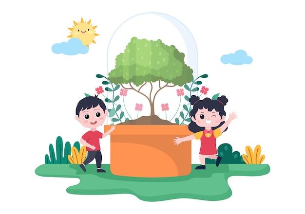Les gens plantant des arbres illustration vectorielle de dessin animé plat avec le jardinage, l'agriculture et l'agriculture utilisent des racines d'arbres ou une pelle pour le concept d'environnement de soin