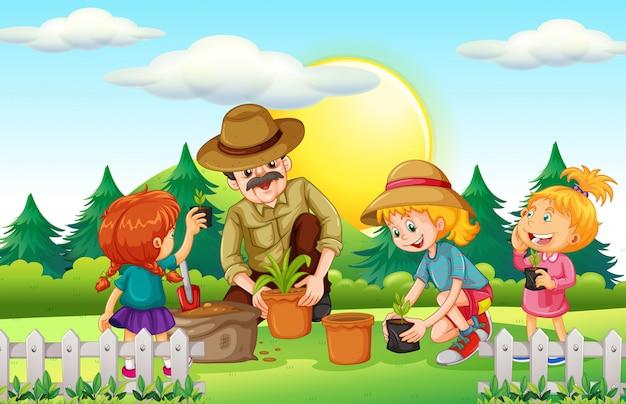 Gens, planter arbre, dans parc