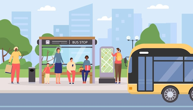 Les gens plats attendent à l'arrêt de bus public de la ville. passagers assis et debout à la gare, bus arrivant. concept de vecteur de transport de voyage urbain. femme recherchant l'itinéraire sur la carte, transport