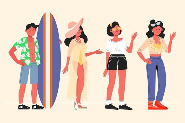 Gens plats avec collection de vêtements d'été