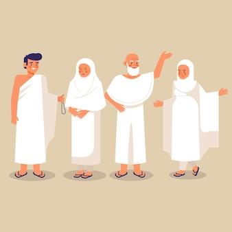 Gens plats dans l'illustration de pèlerinage hajj