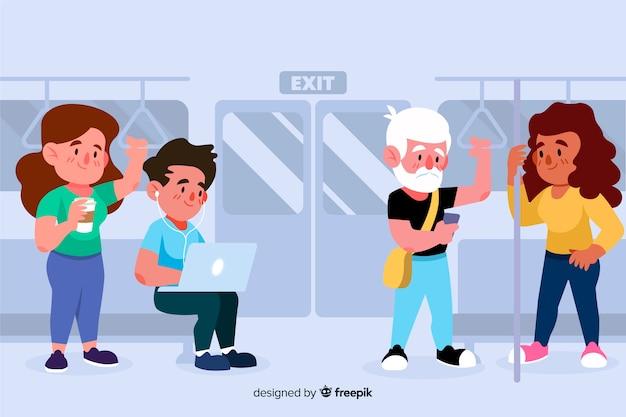 Gens plats dans le métro