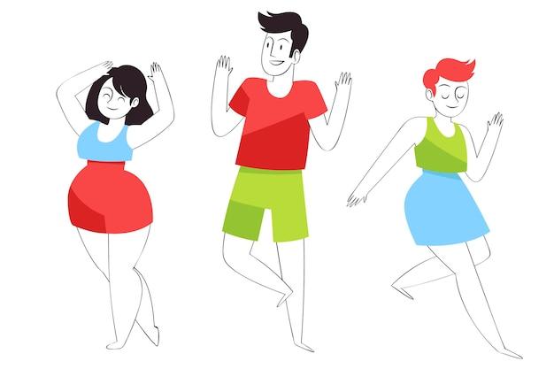 Gens plats dessinés à la main dansant