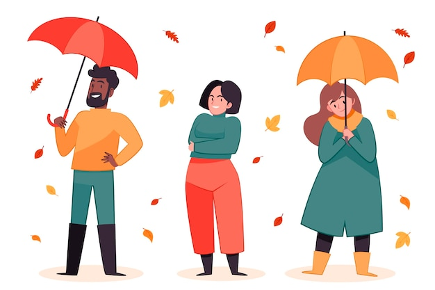 Gens plats dessinés à la main en illustration d'automne