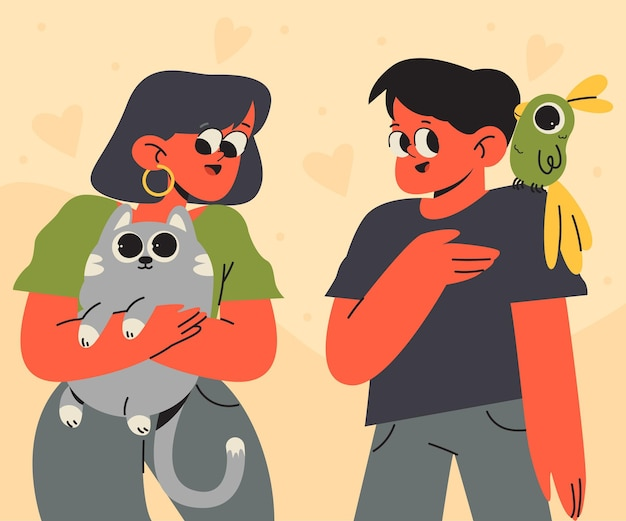 Gens plats avec illustration d'animaux de compagnie