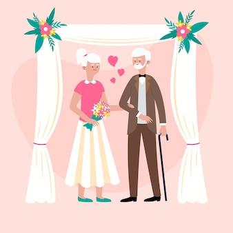 Gens plats organiques célébrant l'anniversaire de mariage d'or