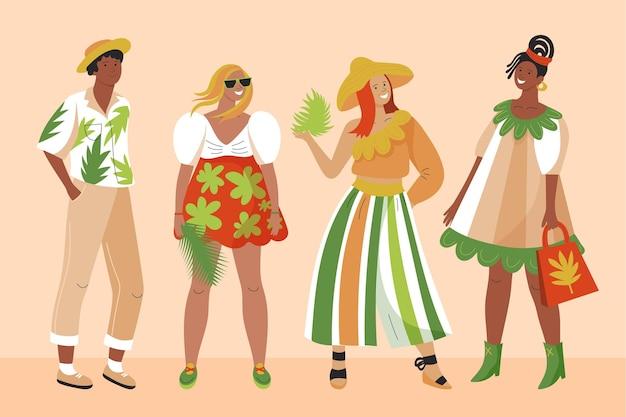 Gens plats organiques avec collection de vêtements d'été