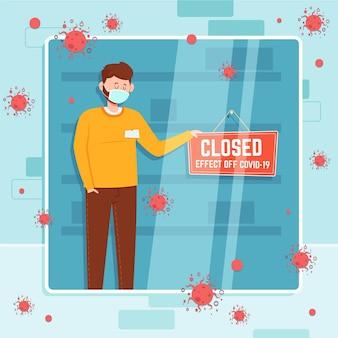 Gens plats organiques suspendus une illustration de panneau fermé en raison d'un coronavirus