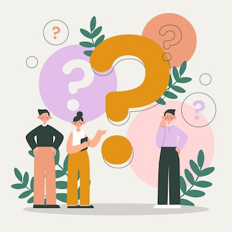 Gens plats posant des questions illustration