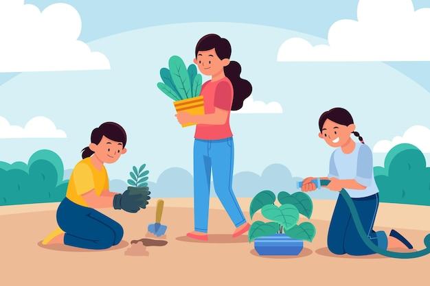 Gens plats prenant soin des plantes