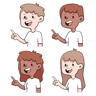 Gens, pointage, ensemble, mignon, dessin animé, illustration