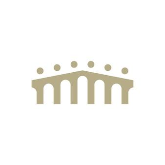 Les gens pont groupe six 6 communauté famille connexion équipe travail construction logo icône vecteur illustration