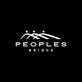 Les gens pont groupe trois 3 communauté famille connexion équipe travail construction logo icône vecteur illustration