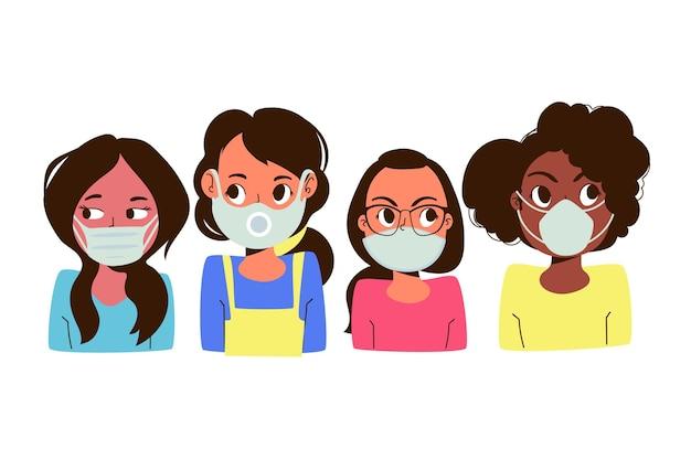 Les gens portant des masques
