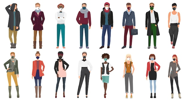 Les gens portant des vêtements décontractés à la mode élégante portant des masques faciaux pour prévenir la maladie covid