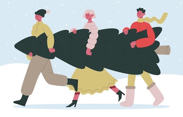 Les gens portent des amis de préparation de vacances de noël portant un sapin portant un ensemble de vecteurs de sapin