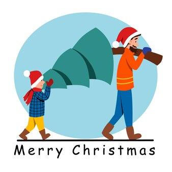 Les gens portent un arbre de noël ensemble le père et le fils se préparent à célébrer le nouvel an