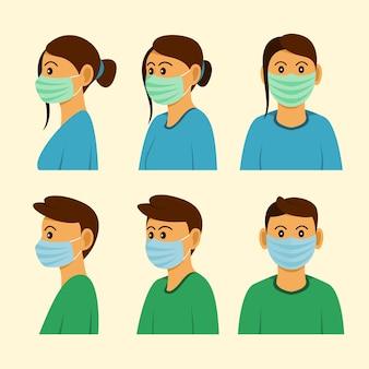 Les gens portent un masque de trois côtés différents de position.