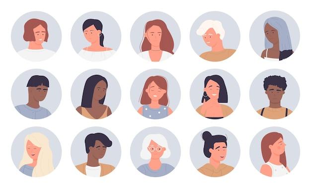 Les gens portrait rond avatars mis multinationale jeune et vieux homme femme face userpics