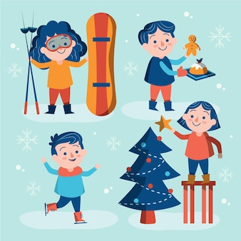 Les gens pratiquant diverses activités hivernales