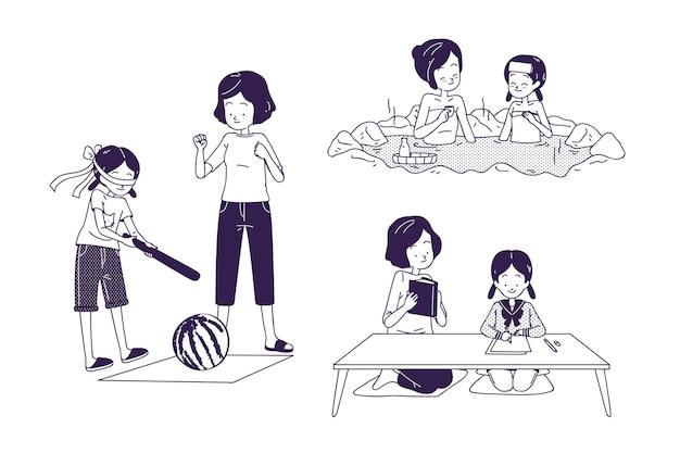 Les gens pratiquant diverses activités japonaises