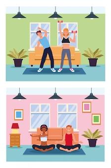 Gens, pratiquer, exercice, dans, les, maison, vecteur, illustration, conception