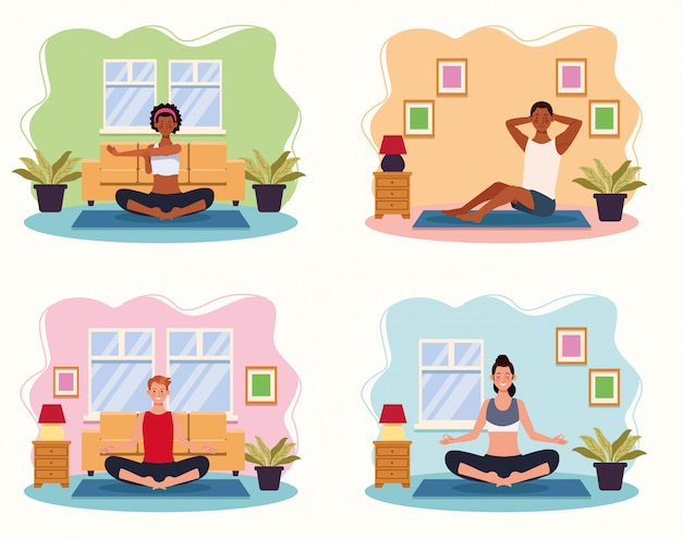 Gens, pratiquer, yoga, dans, les, maison, vecteur, illustration, conception