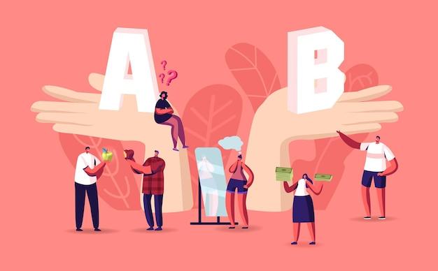 Les gens prennent une décision importante. de minuscules personnages masculins et féminins aux mains énormes avec une comparaison a et b, un choix, des avantages et des inconvénients. choisissez avantages et inconvénients. illustration vectorielle de dessin animé
