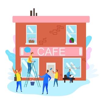 Les gens préparent un café pour l'ouverture officielle