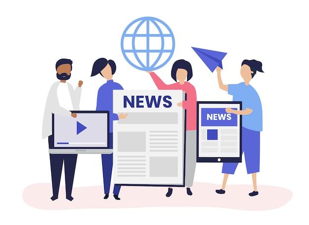 Les gens présentant différents types de moyens d'accéder aux nouvelles
