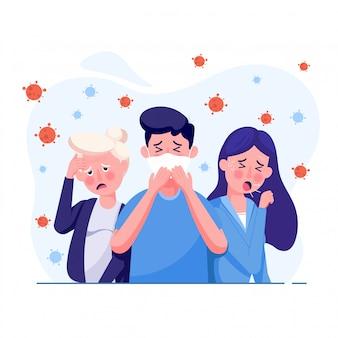 Les gens présentent des symptômes tels que toux, fièvre et sensations vertigineuses avec le virus corona propagé dans l'air. dans un style plat.