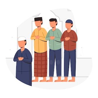 Les gens prient ensemble dans la mosquée pendant le mois de l'illustration de conception conceptuelle du ramadan