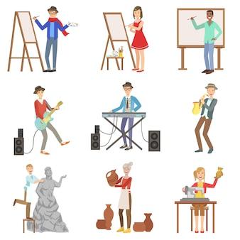 Gens avec des professions artistiques ensemble d'illustrations
