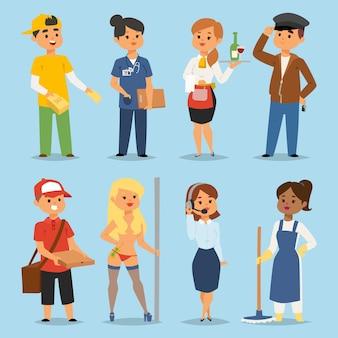 Les gens des professions d'emploi à temps partiel définissent des personnages