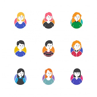 Gens de profil photo icon set vector collection