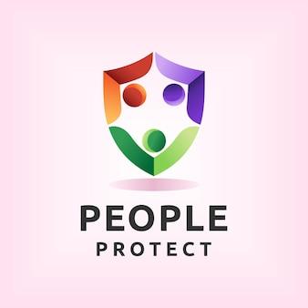 Les gens protègent le logo avec le concept de bouclier