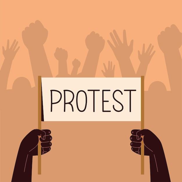Les gens avec la protestation du conseil