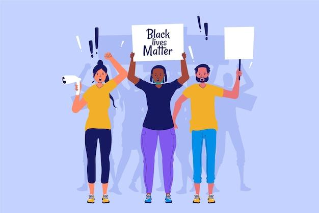 Les gens protestent contre le racisme avec des pancartes