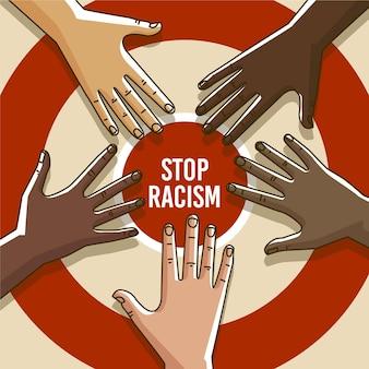 Les gens protestent avec un message d'arrêt du racisme