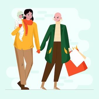 Les gens qui achètent des cadeaux de noël