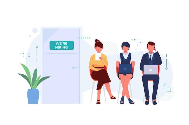 Les gens qui attendent en ligne pour un entretien d'embauche