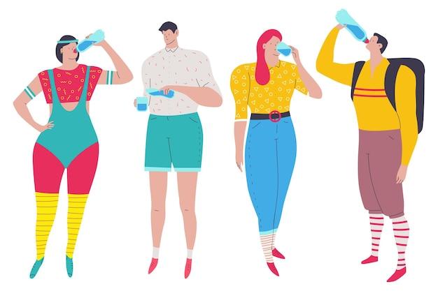 Les gens qui boivent des personnages de dessins animés d'eau mis isolés